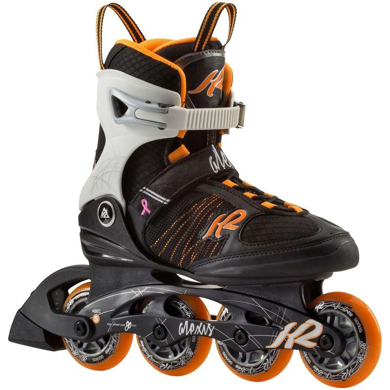 ALEXIS W 80 BLACK Inline TANGERINE K2 Skates BxeCWrdo